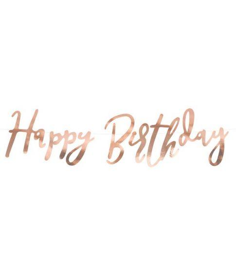 Happy birthday banner, rose gold