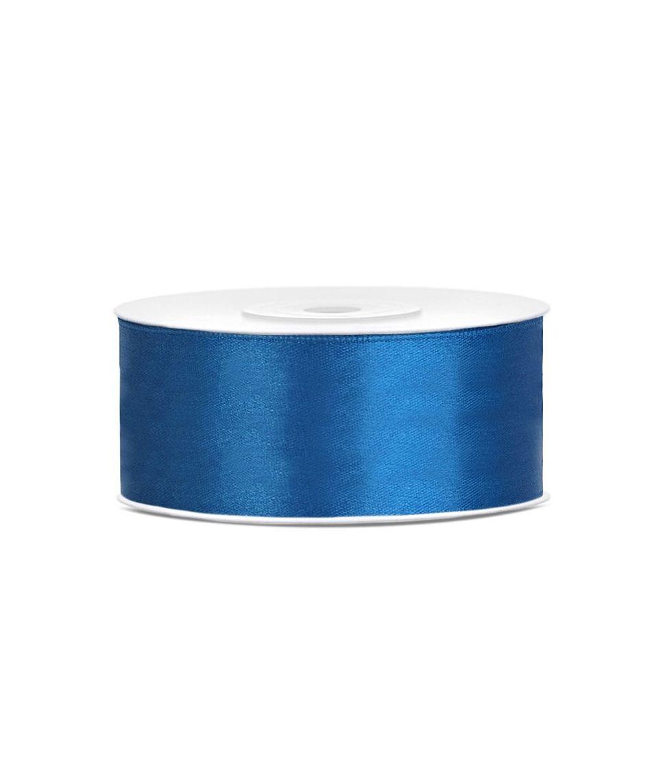 Blå satinbånd 25mm