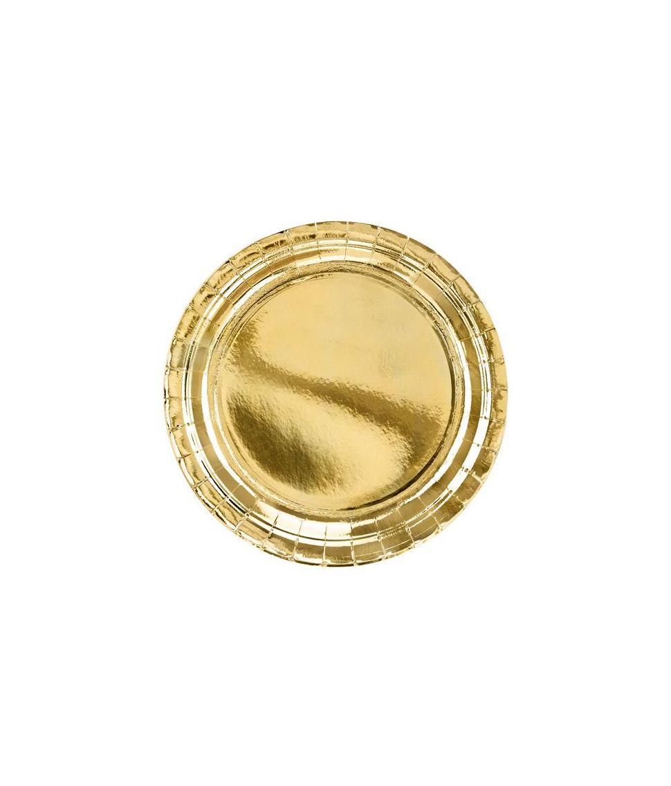 Guld paptallerkner 23 cm