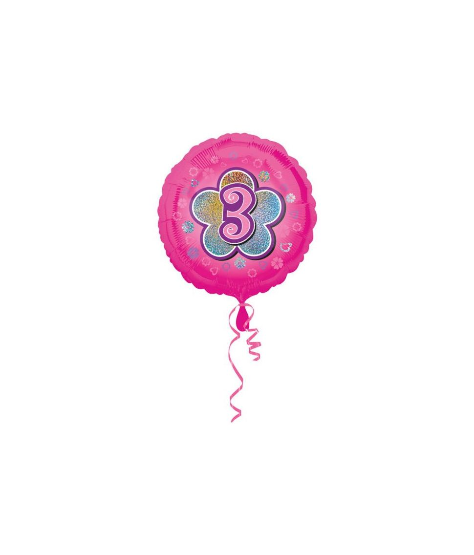 Pink folieballon til pige 3 år fødselsdag