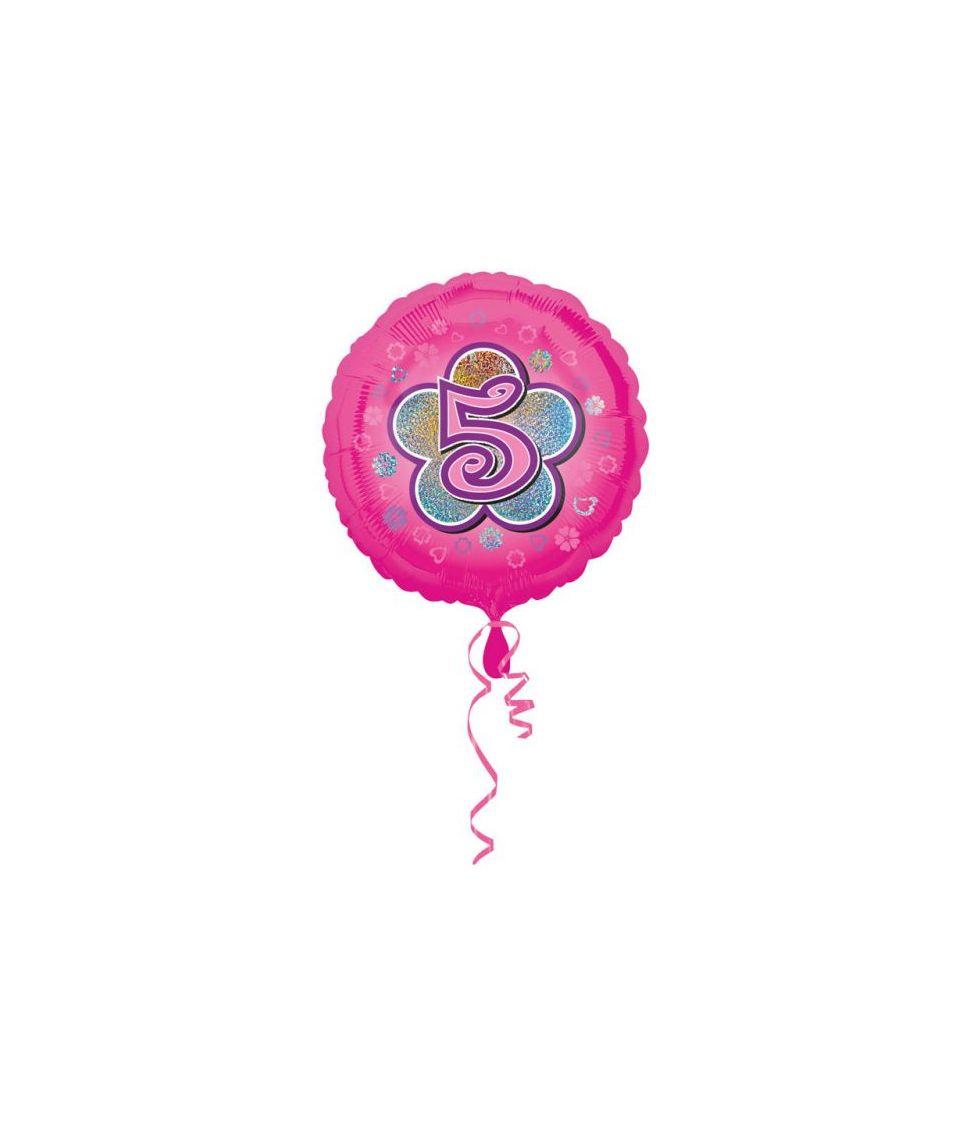 Pink folieballon til pige 5 år fødselsdag