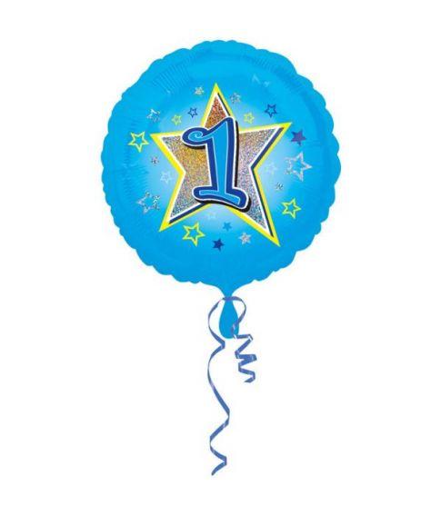Lyseblå folieballon til drengens 1 år fødselsdag