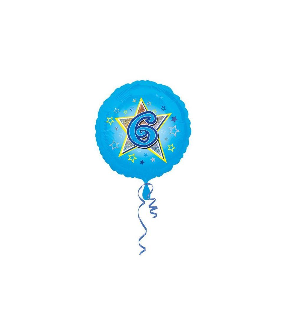 Lyseblå folieballon til drengens 6 år fødselsdag