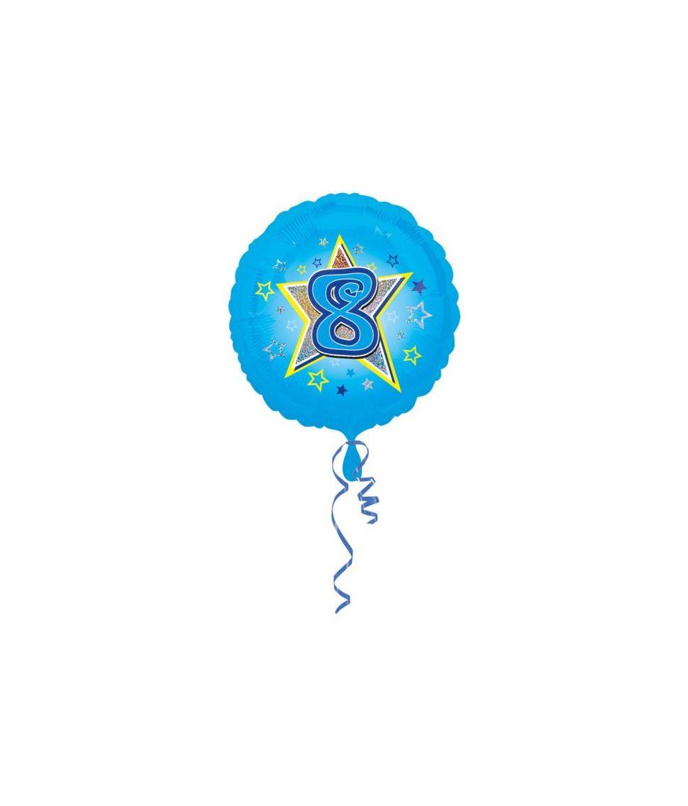 Lyseblå folieballon til drengens 8 år fødselsdag.