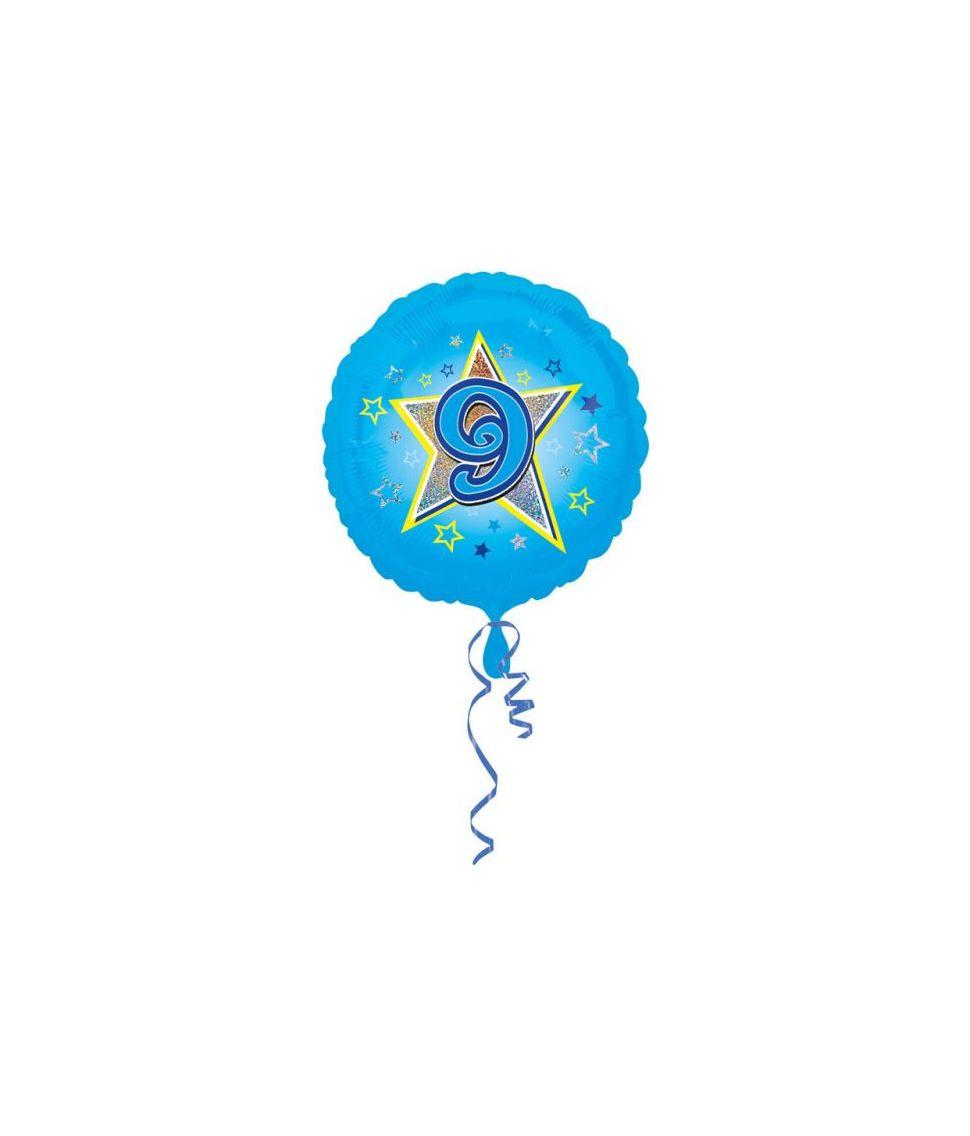 Lyseblå folieballon til drengens 9 år fødselsdag