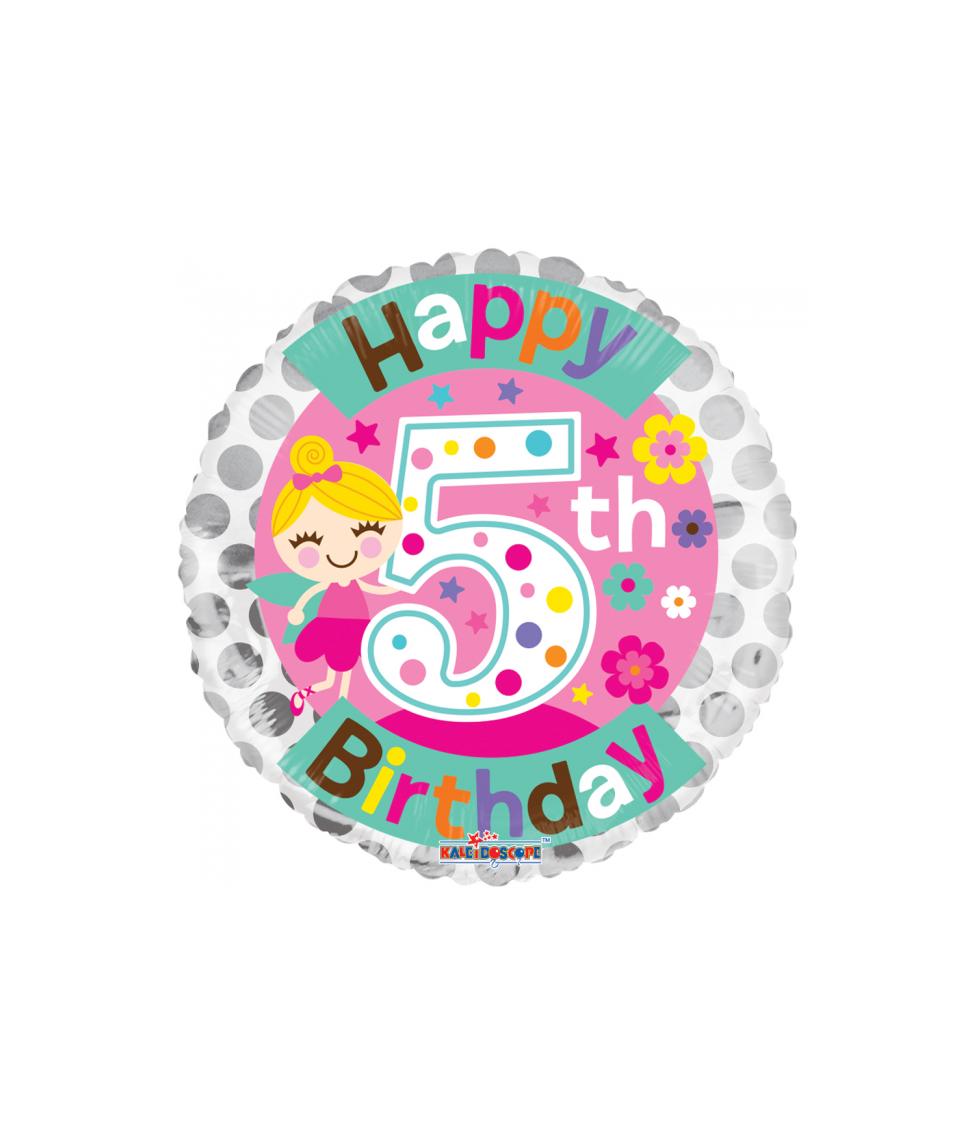 Rund folie ballon med Happy Birthday til 5 års pige fødselsdag