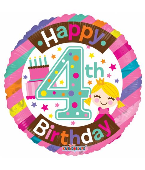 Rund folieballon med Happy Birthday til 4 års pige fødselsdag