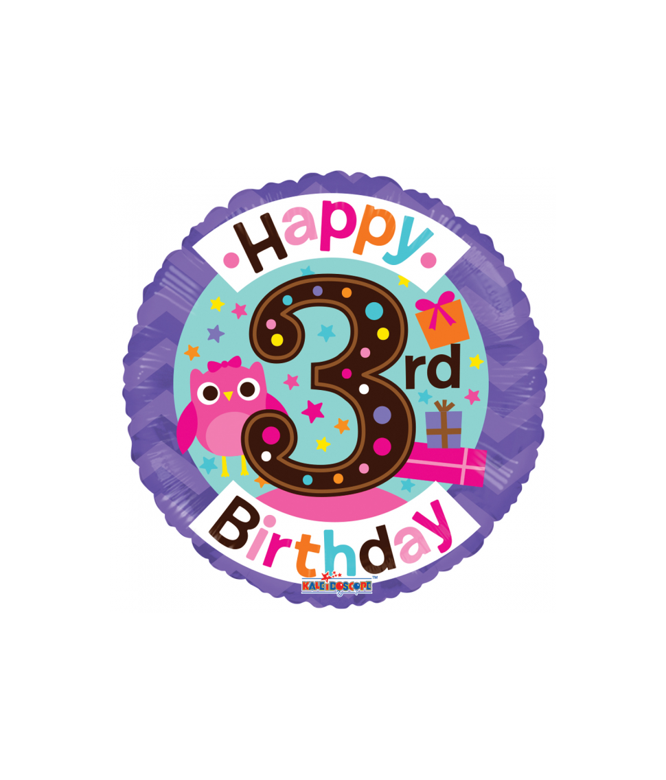 Rund folieballon med Happy Birthday til 3 års pige fødselsdag
