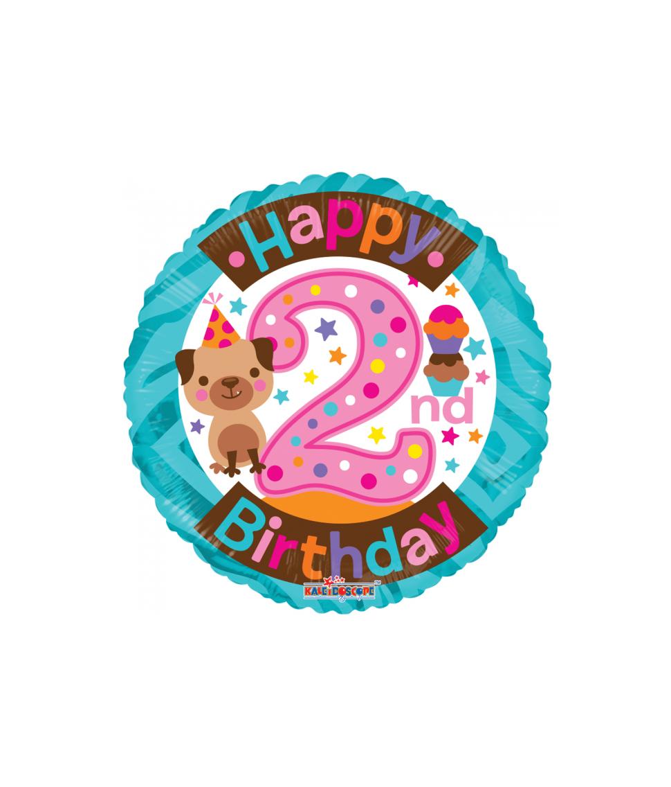 Rund folieballon med Happy Birthday til 2 års pige fødselsdag