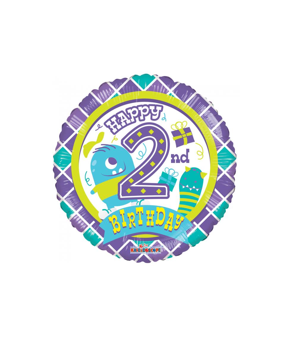 Rund folieballon med Happy Birthday til 2 års drenge fødselsdag.
