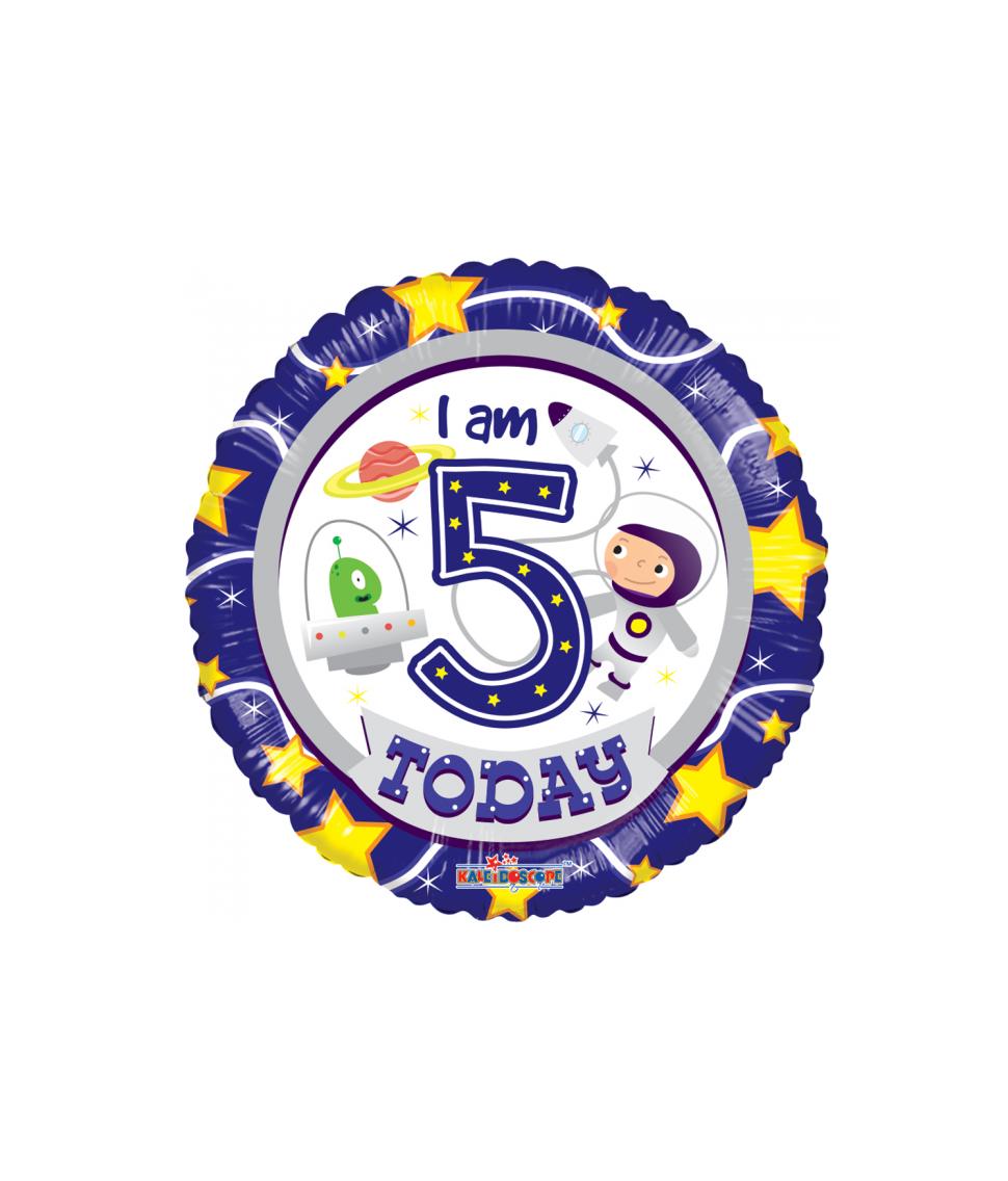 Rund folieballon med Happy Birthday til 5 års drenge fødselsdag.