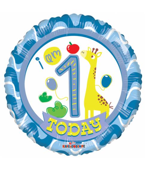 Rund folieballon med Happy Birthday til 1 års drenge fødselsdag.