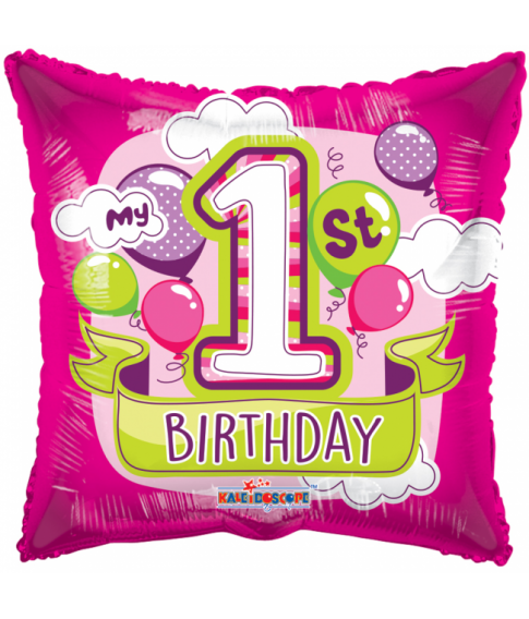 Firkantet pink folieballon til pigens 1. fødselsdag.