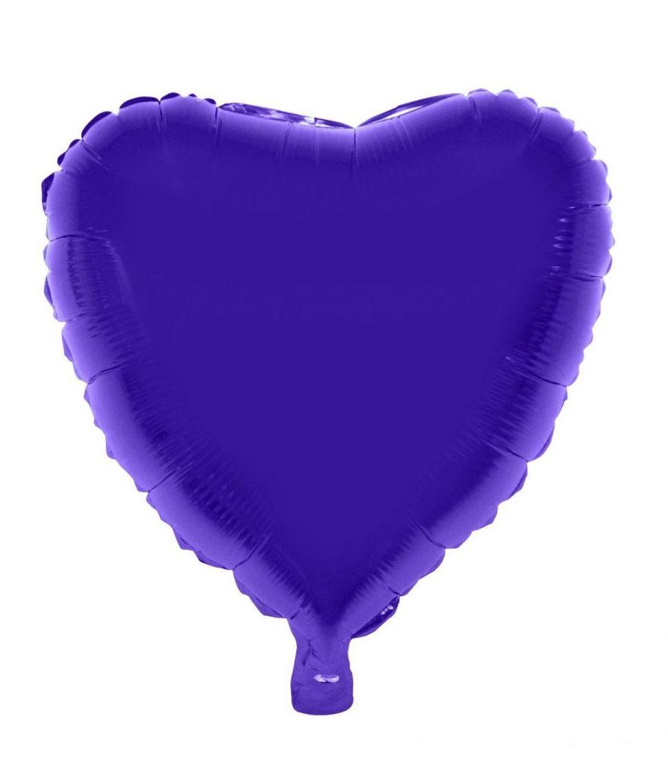 Hjerte folieballon i flot lilla farve