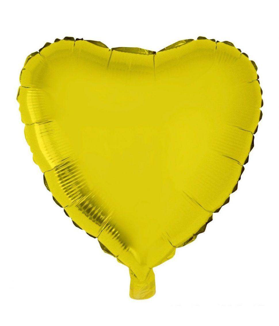 Hjerte folieballon i flot guld farve.