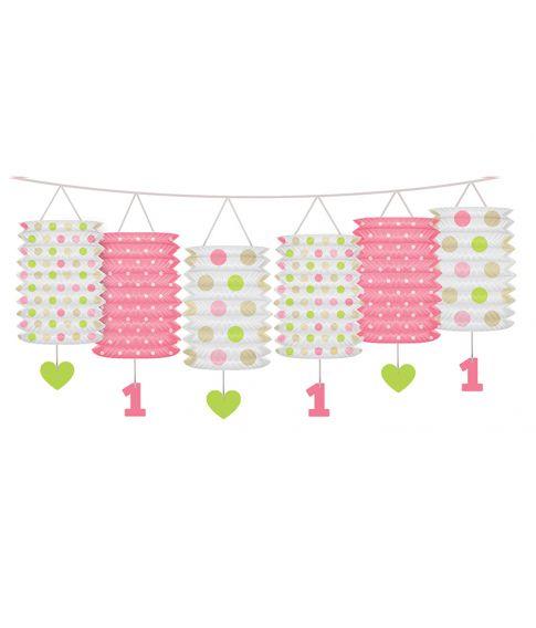 Sød lanterne guirlande i lyserød