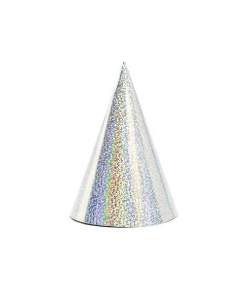 6 stk. holografiske party hatte i sølv.