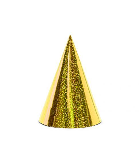 6 stk. holografiske party hatte i guld