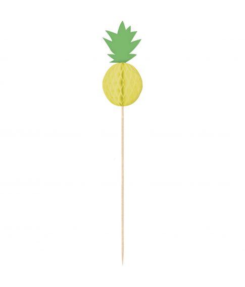 10 stk. Ananas papirvæv på høje cocktailpinde