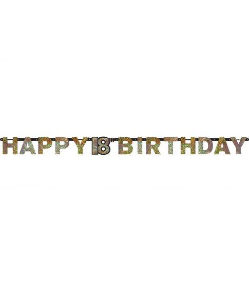 'Happy 18 Birthday' bogstavbanner i guld folie