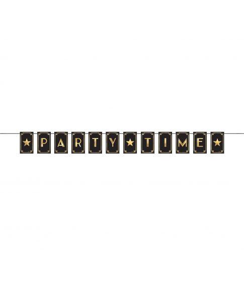 Banner i sort pap med 'party time' i guld