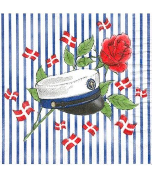 Student servietter, blå med striber