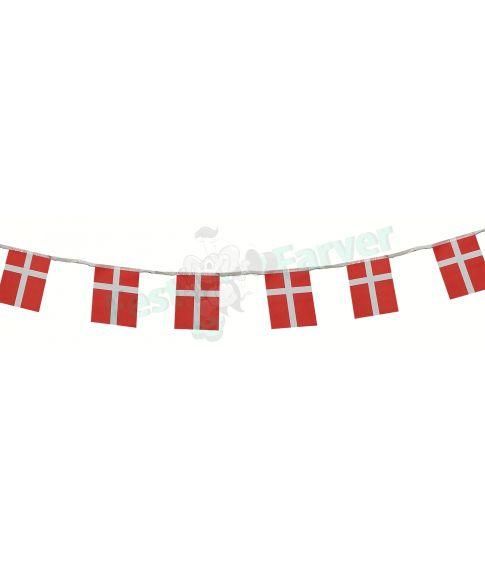 Flagguirlande med 8 danske flag i papir.