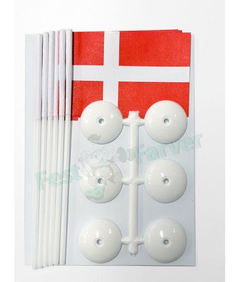6 stk. Danske bordflag på fod