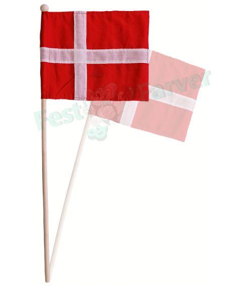 Dannebrog flag i bomuld, på pind.