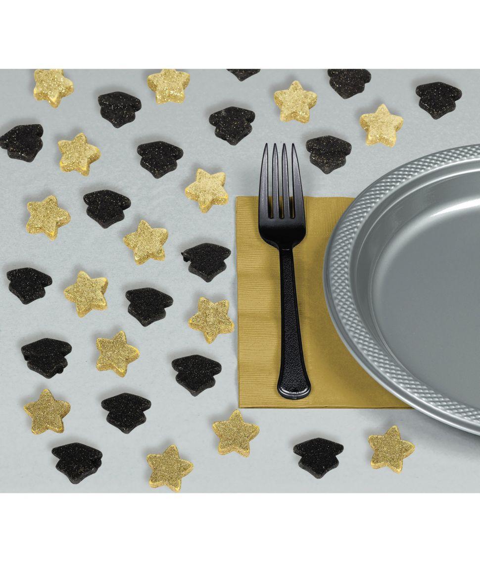 Graduate konfetti i sort og guld skum