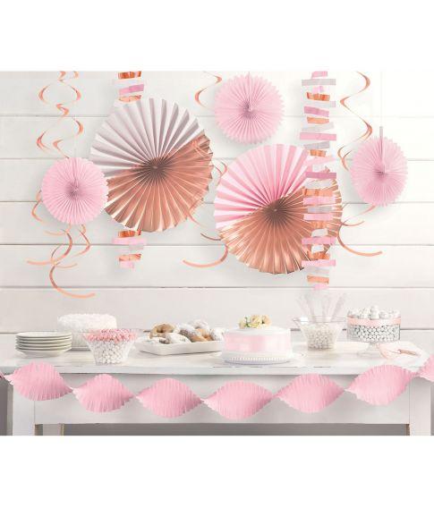 Rosa dekorationssæt, 14 dele