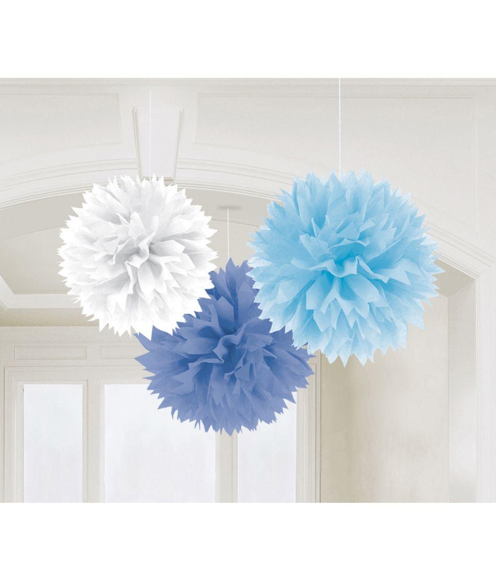 3 pomponer hvid, lyseblå og mørkeblå