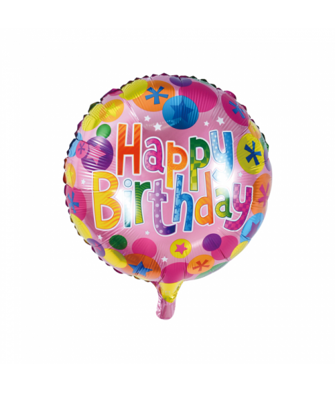 Folieballon Happy Birthday rund 46 cm