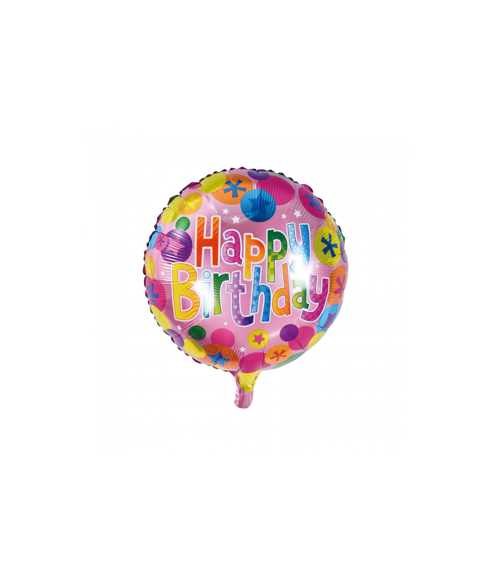 Folieballon Happy Birthday rund 46 cm