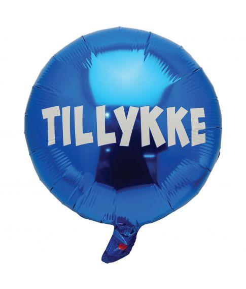 Folieballon blå Tillykke 35 cm