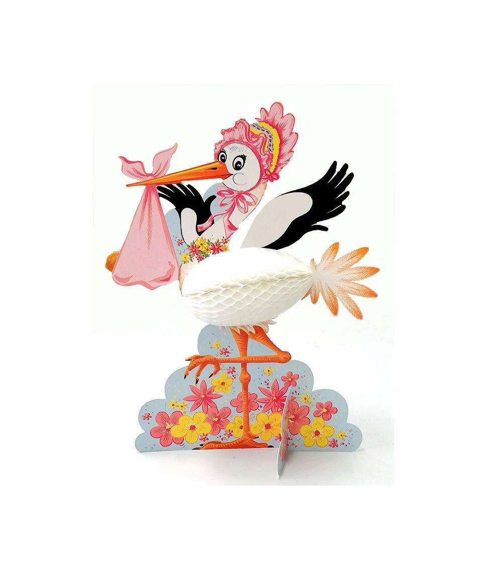 Stork med baby, lyserød