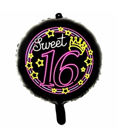 Folieballon rund Sweet 16 neon, 46 cm