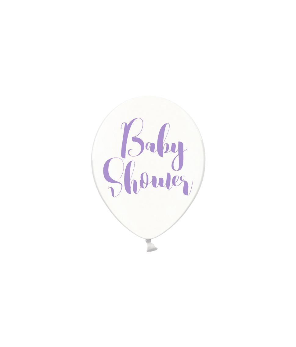 Klare balloner babyshower lilla, 6 stk.