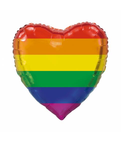 Hjerte Rainbow folieballon, 92 cm