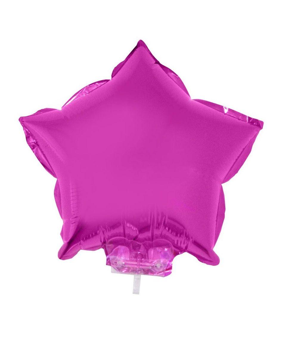Stjerne Folieballon med pind fuchsia, 28 cm