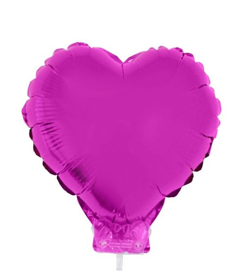 Hjerte Folieballon med pind fuchsia, 28 cm