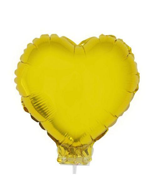 Hjerte Folieballon med pind guld, 28 cm