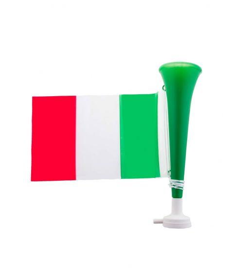 Grønt og hvidt truthorn med høj lyd og det italienske flag.
