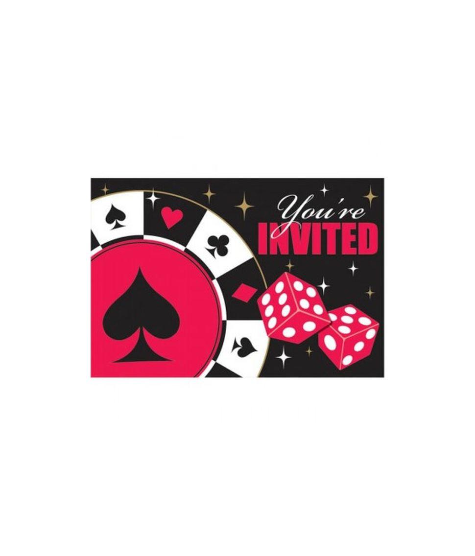8 stk invitationer til Kasino fest tema.