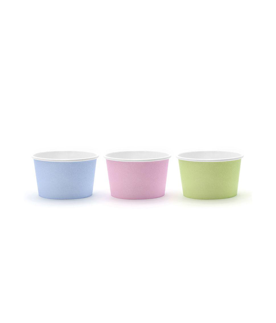 6 stk isbægre i pap i 3 flotte farver.