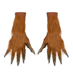 Brune varulve handsker med pels til halloween udklædningen.