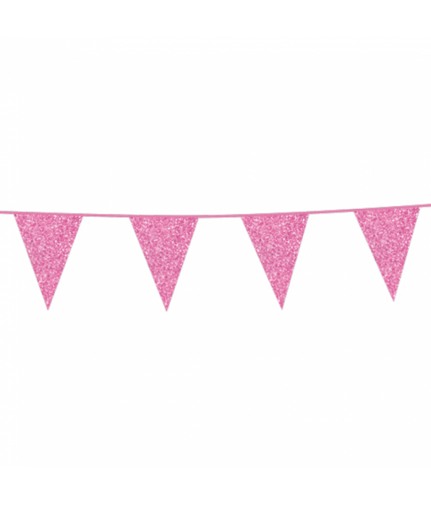 Pink vimpelguirlande med glimmer