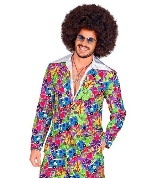 Smart sæt med jakke og bukser med hippie mønster til 70er udklædningen.