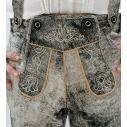 Grå lederhosen i ægte læder med flotte broderinger, antik look