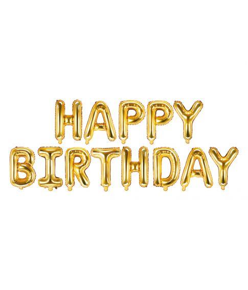 Folieballon bogstaver 'Happy Birthday' i guld